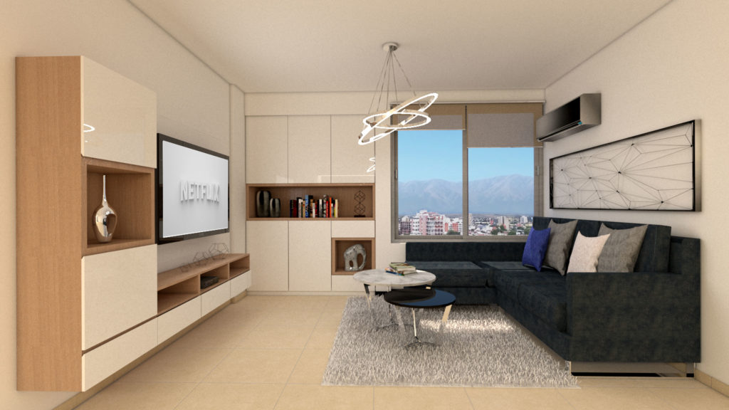 render interior living depto 8E